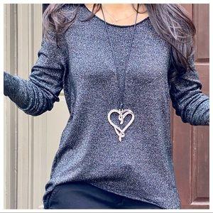 ✨PARIS✨Black leather chain heart necklace